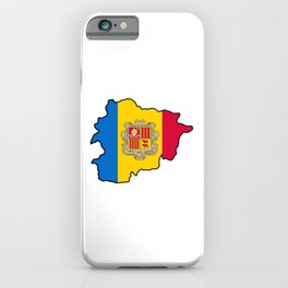 Andorra Map with Andorran Flag iPhone Case