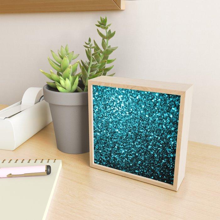 Beautiful Aqua blue glitter sparkles Framed Mini Art Print