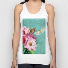 Verdigris Pink Magnolias Unisex Tank Top