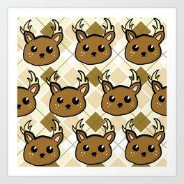 Deer and Argyle Art Print