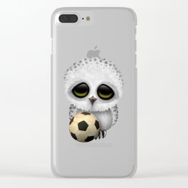 Cute Baby Owl With Football Soccer Ball Clear iPhone Case