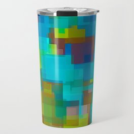 blue brown and yellow square pattern abstract background Travel Mug
