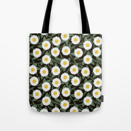 Daisies botanical floral print minimal flowers basic florals pattern charlotte winter dark Tote Bag