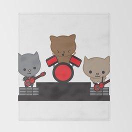 Kitty Cat Kawaii Band usic Throw Blanket