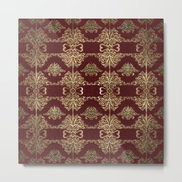 Gold & Red Embossed Floral Design Metal Print