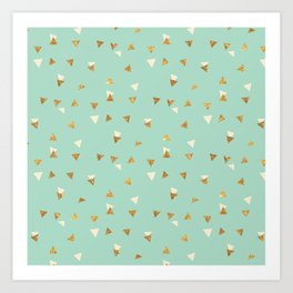Pastel green ivory faux gold glitter abstract triangles Art Print
