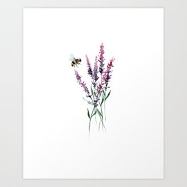 Lavender and Bee Art Print
