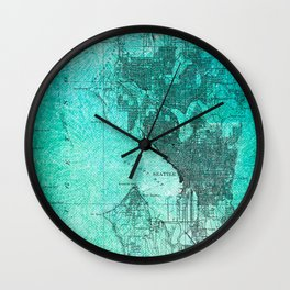 Turquoise Seattle Map Design Wall Clock