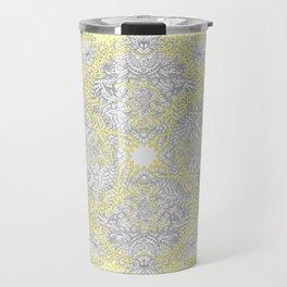 Sunny Doodle Mandala in Yellow & Grey Travel Mug