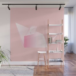 Paper folded, origami pink mouse or rat design Wall Mural