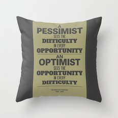 Pessimist / Optimist Throw Pillow