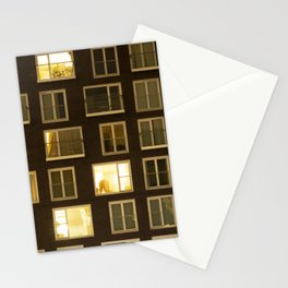 Modern apartment at night Stationery Cards