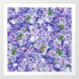 Blue velvety violets Art Print