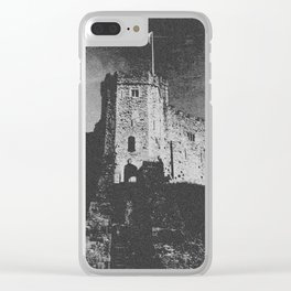 Cardiff Castle Keep Black and White-Wales Clear iPhone Case