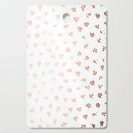 Rose Gold Pink Polka Splotch Dots on White Cutting Board