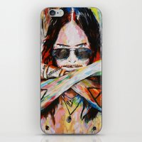 30 seconds to mars iPhone & iPod Skins featuring Jared Leto 30 Seconds To Mars Original Acrylic Painting by RockChromatic