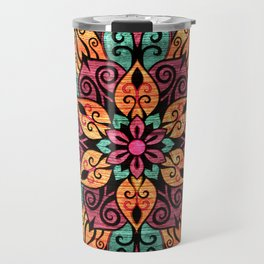 Pyrographed  Flower with color on Wood Travel Mug