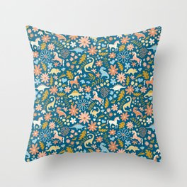 Dinosaurs + Unicorns in Blue + Coral Throw Pillow