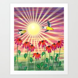 goldfinches sunshine flight Art Print