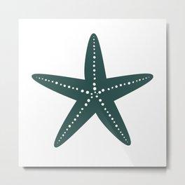 Starfish (Dark Green & White) Metal Print