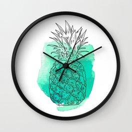 Turquoise Pineapple , pink Pineapple , tropical , hawaii , summer , fruit , Wall Clock