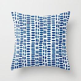 Abstract rectangles - dark blue Throw Pillow
