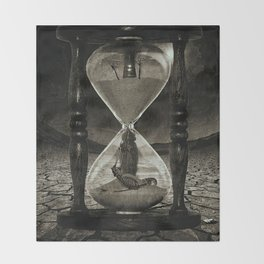 Sands of Time ... Memento Mori - Monochrome Throw Blanket