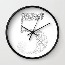 ''Geometry Collection'' - Minimal Number Five Print Wall Clock