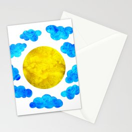 Cute blue cartoon clouds and sun. Stationery Cards