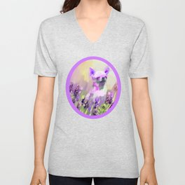 Chihuahua in Lavender Unisex V-Neck