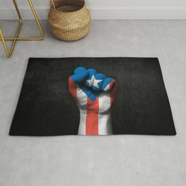 Puerto Rican Flag on a Raised Clenched Fist Rug