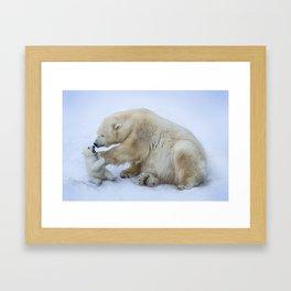 Polar bear with cub. Mother love. Framed Art Print