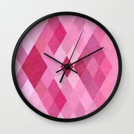 Harlequin I - Pink, Purple and Green Wall Clock