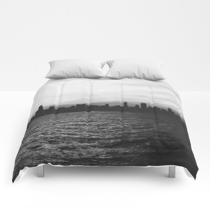 Black and White Chicago Seascape Comforters
