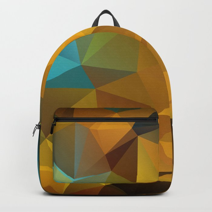 Polygon geometric abstract pattern in blue and yellow tones . Backpack