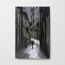 Pilgrim in Santiago de Compostela; after the walk Metal Print