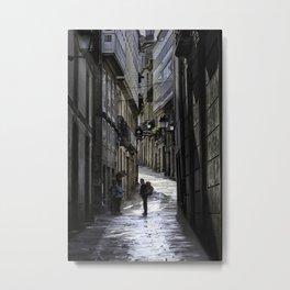 Pilgrim in Santiago de Compostela; after the walk Metal Print