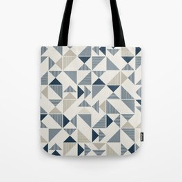Blue Beige Abstract Striped Triangles Tote Bag