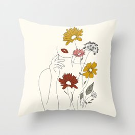 Colorful Thoughts Minimal Line Art Woman with Flowers III Throw Pillow