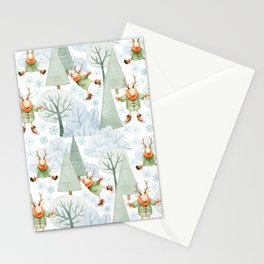 Whimsical Animals Deer Ice Skating On The Forest Lake  Stationery Cards