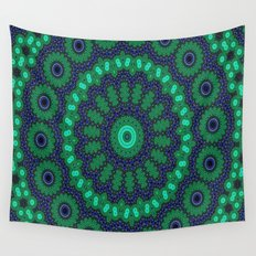 Lovely Healing Mandalas in Brilliant Colors: Black, Royal Blue, Dark Green, and Russian Green Wall Tapestry