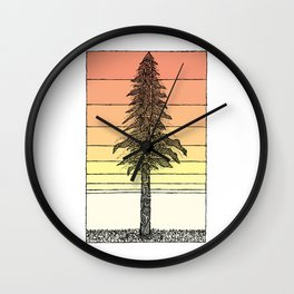 Coastal Redwood Sunset Sketch Wall Clock