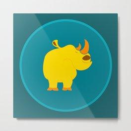 Happy rhino Metal Print