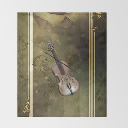 Wonderful violin with clef and key notes Throw Blanket