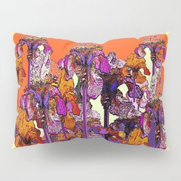 "modern art "" PURPLE & CREAM "" ORANGE IRIS GARDEN Pillow Sham"