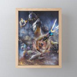 Laser Sloth Fighting Evil Llama King Framed Mini Art Print