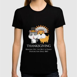 Thanksgiving Day Cat and Dog Gift for Fall Holiday Dark T-shirt