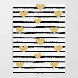 cute pattern with hand drawn gold hearts on black and white stripes Poster