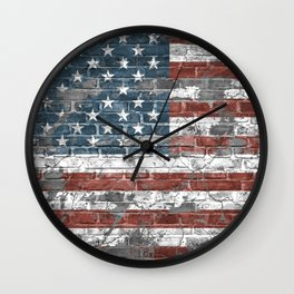 american flag on the brick Wall Clock