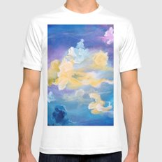 Colorful Cumulus LARGE White Mens Fitted Tee